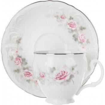 Чайная пара 240 мл 160 мм высокая bernadotte, бледные розы платина