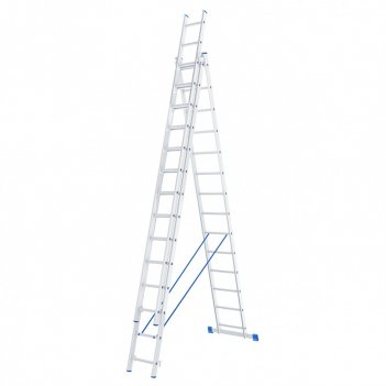 Лестница, 3 х 14 ступеней, алюминиевая, трехсекционная сибртех pоссия