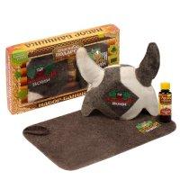 Набор банный банный воин шапка викинг с вышивкой, коврик с вышивкой, арома