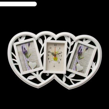 Часы настенные, серия: фото, сердечки, белые, 2 фоторамки, 29х47 см, микс