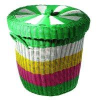 Корзина для белья плетеная с крышкой 40х40х35 см, цвета микс
