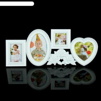 Фоторамка на 4 фото белые розы 6x6 см, 8x5 см, 10x9 см, 10x15 см