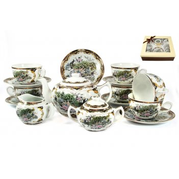 Чайный сервиз павлин на 6 персон из 15 предмет. в подар. упак.