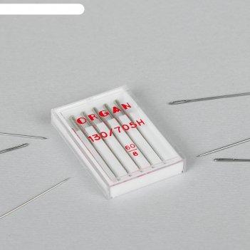 Иглы для бытовых швейных машин, универсальные, №60/8, 5 шт