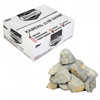 Камень для бани кварцит белый, колотый, добропаровъ коробка 20кг, фракция