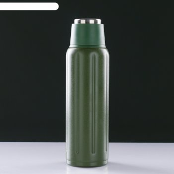 Термос sport на ремешке, 500 мл, сохраняет тепло 12 ч, тёмно-зелёный, 7х23