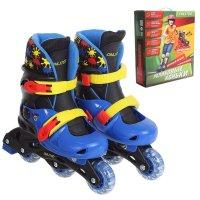 Роликовые коньки раздвижные, колеса pvc 64 mm, пластиковая рама, blue/yell