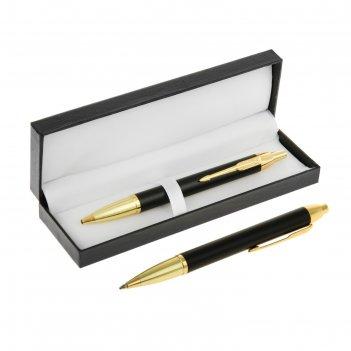 Ручка шариковая подарочная автоматическая в кожзам футляре модерн