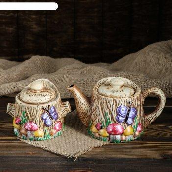 Чайная пара пенек чайник+сахарница, 1 л/0,7 л