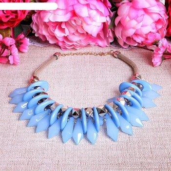 Колье игольчатое кристаллы, цвет светло-голубой