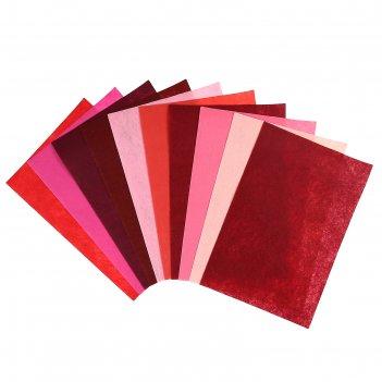 Фетр оттенки красного 1 мм (набор 10 листов) формат а4