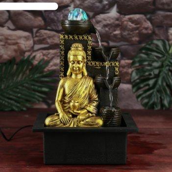 Фонтан настольный от сети золотой будда у водопада с кувшином, узор 35х20х