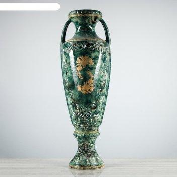 Ваза напольная форма веста роспись, малахит зеленый