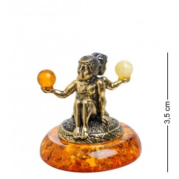 Am-1548 фигурка знак зодиака-близнецы (латунь, янтарь)