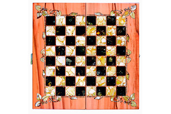 Шахматы из янтаря флора, тинео, янтарь, 56х56см