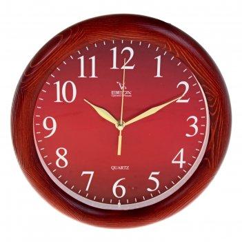 Часы настенные круглые классика, деревянные красные