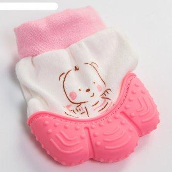 Прорезыватель рукавичка «девочка в шапочке», цвет розовый