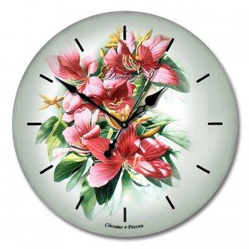 Настенные часы из стекла династия 01-016 букет