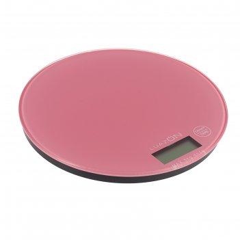 Весы электронные кухонные luazon lvk-701 до 5 кг, круглые, стекло, бледно-