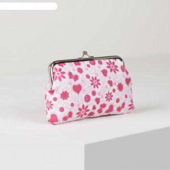 Косметичка-фермуар цветы, 17*3*10см, отд на фермуаре, розовый