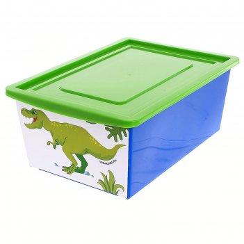 Ящик универсальный для хранения с крышкой  «дино » , объем 30 л, цвет сини