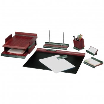 Набор настольный delucci 8 предметов, красное дерево, отделка зеленым мрам