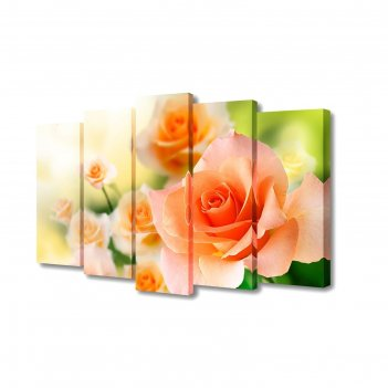 Модульная картина на холсте с подрамником нежно-оранжевые розы