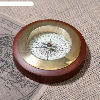 Компас латунь большой 11,5х11,5х2 см