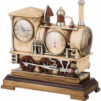 Часы настольные кварцевые с термометром паровоз 28*11,5*28 см. диаметр циф