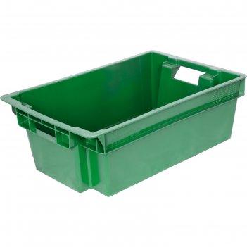 Ящик мясной, конусный, сплошной, 600х400х200 зеленый, вес 1,6 кг