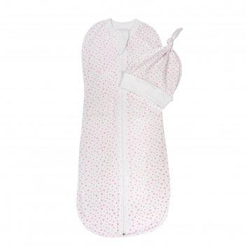 Пелёнка-кокон с шапочкой soft hugs, размер 68-74 см, розовые звёзды