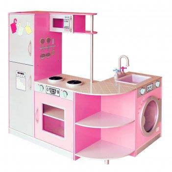 Детская игровая мебель из дерева угловая кухня розовая