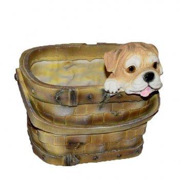 Кашпо декоративное щенок в лукошке, l21 w20 h20 см