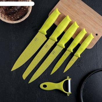 Набор клауд 6 предметов: 5 ножей и овощечистка из керамики, цвет зеленый