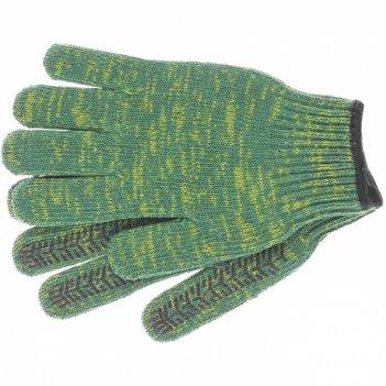 Перчатки трикотажные усиленные, гелевое пвх-покрытие, 7 класс, зеленые рос