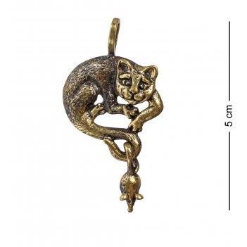Am-1194 подвеска кот с мышкой (латунь, янтарь)
