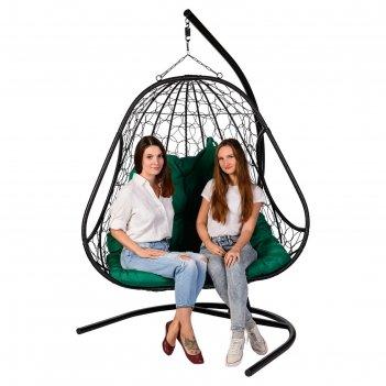 Двойное подвесное кресло primavera black, зелёная подушка
