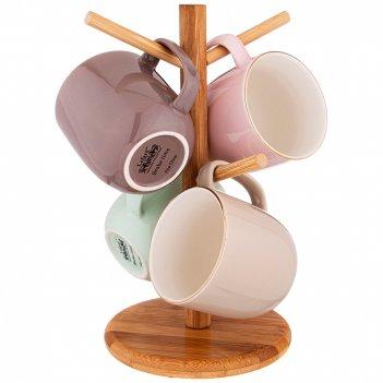 Набор из 4 кружек на деревянной подставке lefard break time 310 мл пастель