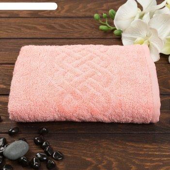Полотенце махровое жаккард plait 70х130 см, цв 458 коралл, хл.100% 350 гр/