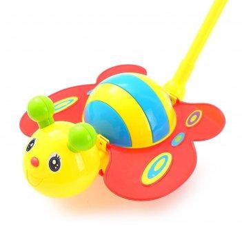 Каталка на палке пчёлка, цвета микс
