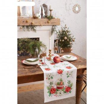 Дорожка на стол christmas red flowers 40*147 см, 100% хл, саржа 190гр/м2