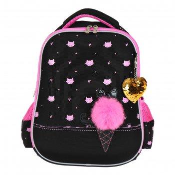 Рюкзак каркасный hatber ergonomic light 38 х 29 х 6, для девочки cat secre