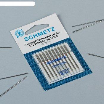 Иглы для бытовых швейных машин, универсальные, №80, 10 шт