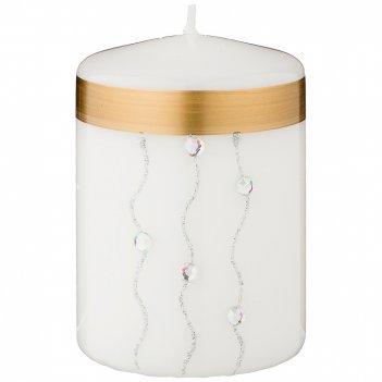 Свеча декоративная столбик волшебное сияние white диаметр 7 см высота 9,5