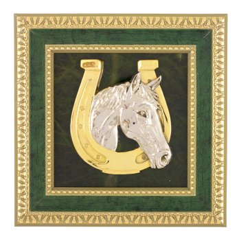 Панно подкова с лошадью камень нефрит