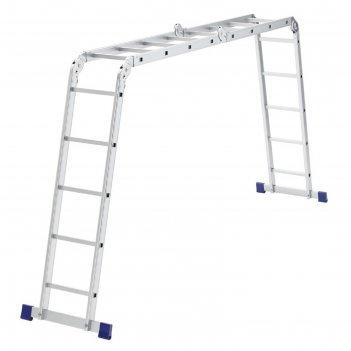Лестница шарнирная сибртех 97884, алюминиевая, 4х4х5 ступеней
