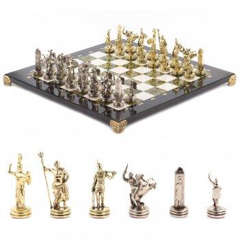 Шахматы греческая мифология доска 360х360 мм мрамор змеевик металл