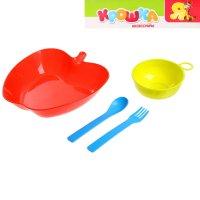 Набор детской посуды яблочко миска с ручкой, вилка, ложка, цвета микс