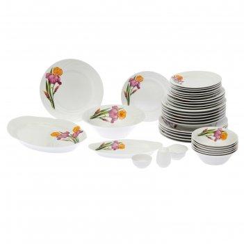Сервиз столовый 36 предметов, 4 вида тарелок голубка. ирисы