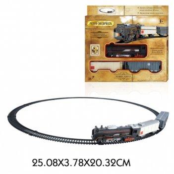 1toy ж/д ретро  экспресс, свет,паровоз, 2 вагона, 13 деталей, длина путей